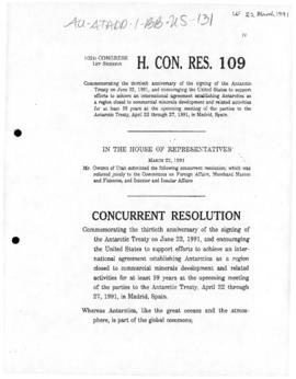 United States House of Representatives, Concurrent Resolution 109 commemorating 30th anniversary of the Antarctic Treaty and supporting environment protection measures, and related Senate Concurrent Resolution 26