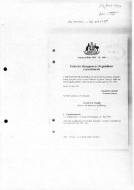 Australia, Fisheries Management Regulations (Amendment)