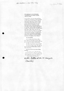 US, Secretary of State and President, statements concerning the Falklands conflict; includes statement from the Organization of American States