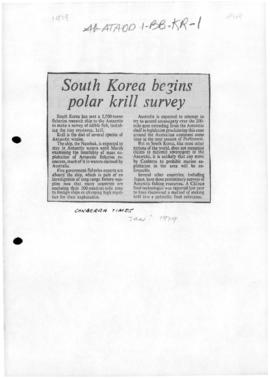 Press articles concerning South Korean krill survey and accession to the Antarctic Treaty