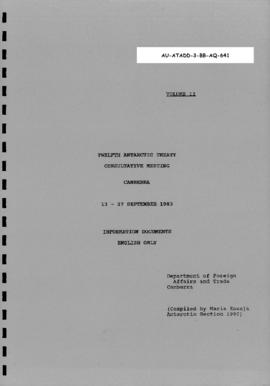 Twelfth Antarctic Treaty Consultative Meeting (Canberra), documents Volume II