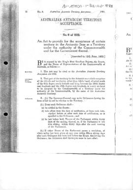 Australian Antarctic Territory Acceptance Act, no 8 of 1933