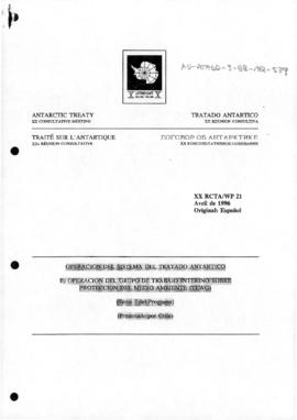 "Twentieth Antarctic Treaty Consultative Meeting (Utrecht) Working paper 21 ""Operacion del Si..."