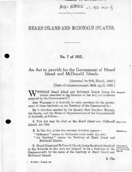 Australia, Heard Island and McDonald Islands Act 1953
