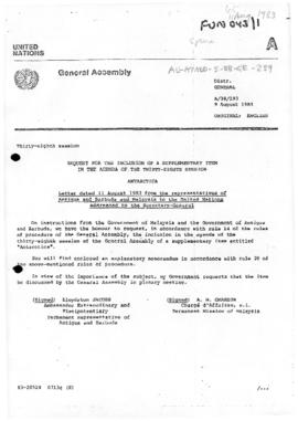 "United Nations General Assembly, Thirty-eighth session ""Request for the inclusion of a supplementary item in the agenda: Letter  from the representatives of Antigua and Barbuda and Malaysia"" (A/38/193)"