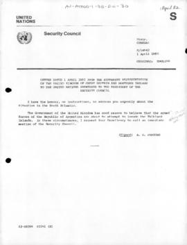 United Nations Security Council, United Kingdom request concerning the possible Argentine invasion of the Falkland Islands, and record of Security Council discussion