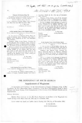 United Kingdom, Dependency of South Georgia, Appointment of Magistrates 1983 and 1984