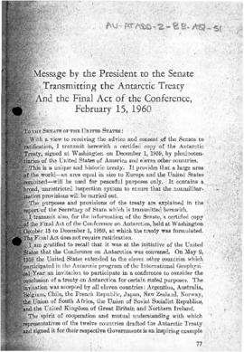 "United States ""Message by President Eisenhower to the Senate transmitting the Antarctic Trea..."