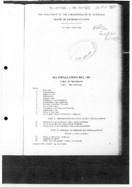 Australia, House of Representatives, Sea Installations Bill 198
