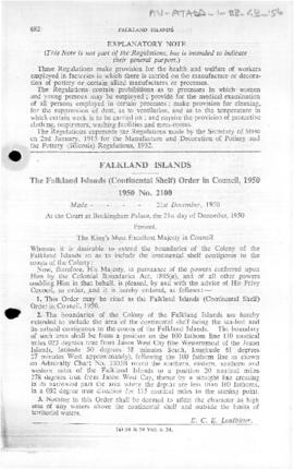 Falkland Islands (Continental Shelf) Order in Council, no 2100 of 1950