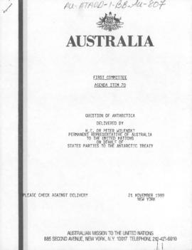 "Australia, ""Question of Antarctica"" United Nations, First Committee 21 November 1989"