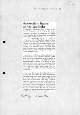 Press articles concerning Beardmore Glacier workshop in Antarctica