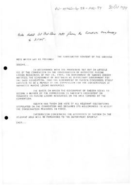 Australia, Department of Foreign Affairs cablegram, extract of notes  concerning Sweden's accession to the Convention on the Conservation of Antarctic Marine Living Resources