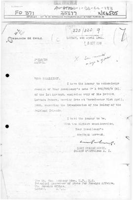 Chilean note to the United Kingdom acknowledging receipt of the Letters Patent of 21 July 1908
