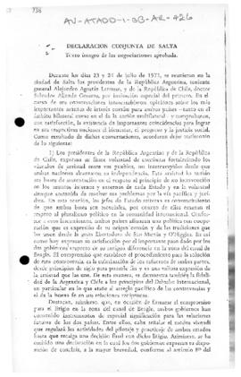 Argentina and Chile, Declaration of Salta concerning the Beagle Channel