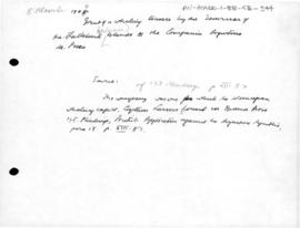 Falkland Islands, grant of a whaling Licence to the Argentine Fishing Company