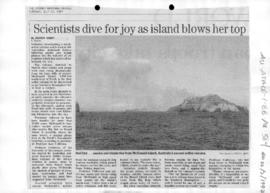 "Darby, Andrew ""Scientists dive for joy as island blows her top"" Sydney Morning Herald"