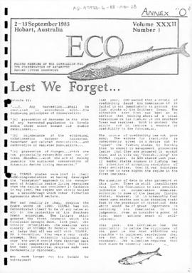 "Antarctic and Southern Ocean Coalition, Eco ""Lest we forget"" (Eco Volume XXXII Number 1). Includes related documents (Eco Volume XXXII Number 2, Eco Volume XXXII Number 3 and Eco Volume XXXII Number 4)"