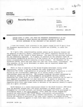 British note to the United Nations Security Council reporting the re-establishment of British authority on South Georgia Island (S/15002)