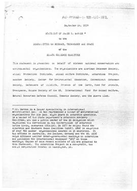 "United States Congress, Senate Commerce Committee ""Statement of James N Barnes to the Committee on Science, Technology and Space"". Includes incomplete copy of memorandum to R Tucker Scully of the State Department."