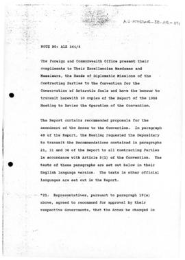 United Kingdom, Note concerning the report of the Meeting to review the operation of the Convention for the Conservation of Antarctic Seals