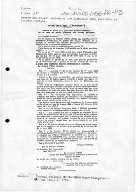 France, Decree no. 67-451 extending the zone forbidden to foreign fishing vessels; Order concerning fishing in the French Southern and Antarctic Lands; and related Order no 20 of 1 September 1971