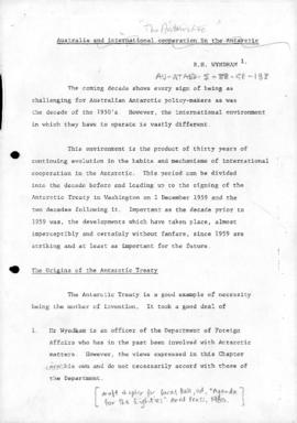"Hugh Wyndham ""Australia and international cooperation in the Antarctic"" [draft chapter ..."