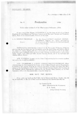 Falkland Islands, Proclamation under the Place-Names Ordinance, no 2 of 1956