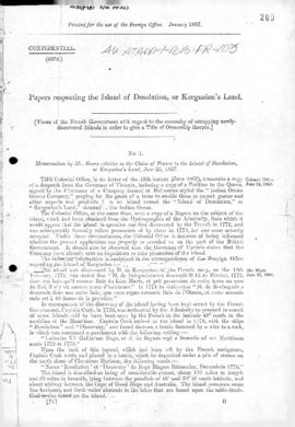 British Foreign Office report concerning Kerguelen Island, Island of Desolation, St Paul and Amsterdam Islands