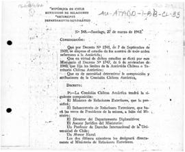Decree no. 548 establishing the composition and functions of the Chilean Antarctic Commission