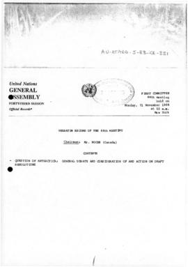 "United Nations General Assembly, Forty-third session, First Committee, Verbatim Record of the 44th Meeting ""Question of Antarctica: General Debate and consideration of and action upon draft resolutions""  (A/C.1/43/PV.44)"