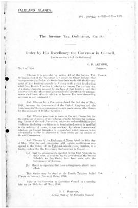 Falkland Islands, Income Tax Ordinance, Double Taxation Relief (Taxes on Income) (Norway) Order, no 1 of 1956