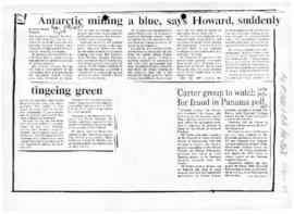 "Peake, Ross ""Antarctic mining a blue, says Howard, suddenly tingeing green"" The Age"