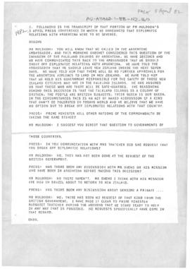Press article concerning New Zealand and Argentine relations during the Falklands/Malvinas dispute. Includes a related document reporting an article in the Buenos Aires Herald.