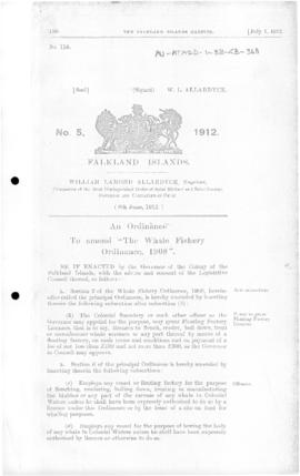 Falkland Islands, Whale Fishery Amendment Ordinance, no 5 of 1912
