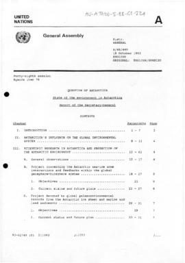 "United Nations General Assembly, Forty-Eighth session ""State of the environment in Antarctica: Report of the Secretary-General"" (A/48/449)"