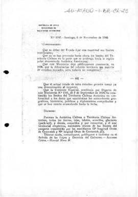 Decree no. 1,747 declaring the limits of the Chilean Antarctic Territory