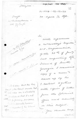 British Foreign Office letter to Colonial Office concerning licenses for South Georgia
