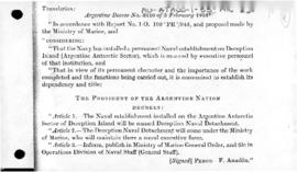 Decree no. 3,416 concerning the Argentine naval base on Deception Island, South Shetland Islands