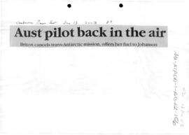"Press article ""Aust pilot back in the air"" Canberra Times"