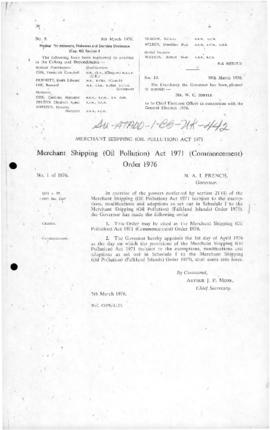 United Kingdom, Falkland Islands, Merchant Shipping (Oil Pollution) Act 1971 (Commencement) Order...