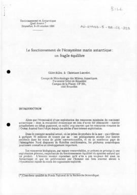 "Billen, Gilles and Lancelot, Christiane ""Le fonctionnement de l'ecosysteme marin Antarctique..."