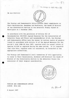 UK, Foreign and Commonwealth Office, notes concerning application of the Agreed Measures for the ...