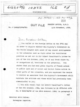 British note to Norway concerning Norwegian activities and the Australian Antarctic Territory