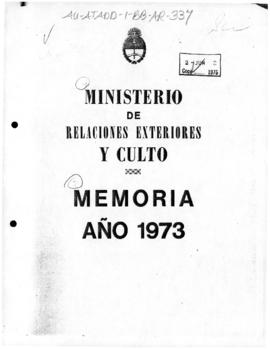 Argentina, Ministry of Foreign Affairs and Worship, Memoria 1973