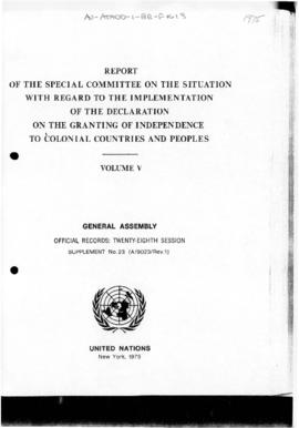 United Nations General Assembly, 28th Session, report concerning independence for colonial countries and peoples