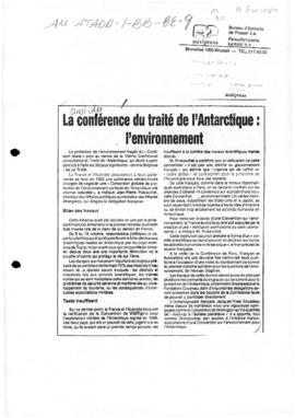 "Press article ""La conference du traite de l'Antarctique: l'environment"" Nouvelle Gazett..."
