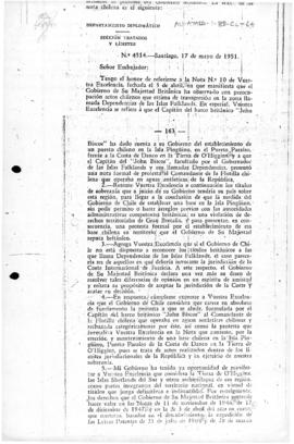Chilean note to the United Kingdom rejecting the British note of protest at the establishment of a Chilean base on Penguin Island, Paradise Harbour
