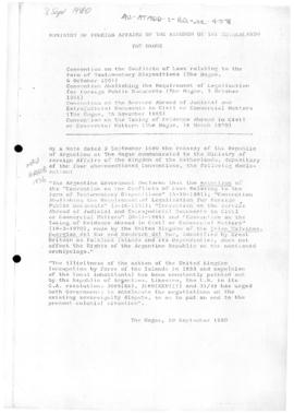 Argentina, declaration concerning dispute with United Kingdom over Islas Malvinas