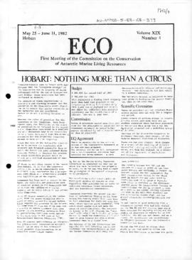 "Commission on the Conservation of Antarctic Marine Living Resources ""Hobart: nothing more than a circus"" ECO Vol XIX, number 4."
